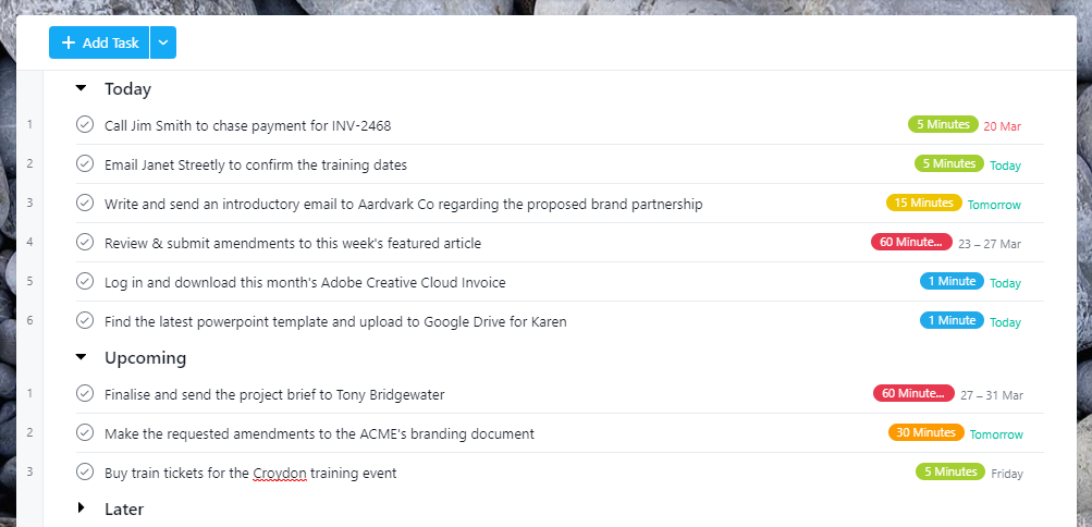 Screenshot of Asana's 'My Tasks' page with tasks moved into the today and upcoming sections.
