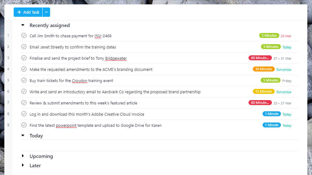 "Screenshot of Asana's ""My Tasks"" page showing the ""Recently Assigned"" section and some example tasks"